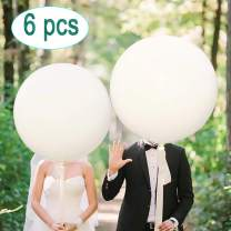 """Greengoal 36"""" Latex Balloon White (Premium Helium Quality), Thicken Round Giant Balloons for Birthdays Festivals Wedding & Event Decorations (6 Pack)"""