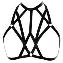 Women Body Harness Bra Waist Belt Strappy Crop Tops Goth Punk Pentagram Festival Rave Bralette (Black O0182)