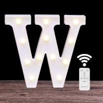LED Marquee Letter Lights 26 Alphabet Light Up Name Sign Remote Control Letter Lamp for Wedding Birthday Party Battery Powered Christmas Lamp Home Bar Decoration(letter W-Remote control)
