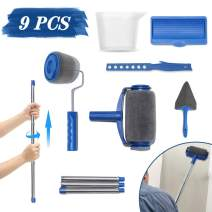 LIUMY 9Pcs Paint Roller Set,Paint Runner Kit with 3 Knots Extension Pole,Handle Tool Painting Brush Set for House Wall,School & Office Wall, Ceiling,Quickly Decorate in Just Minutes(Blue)