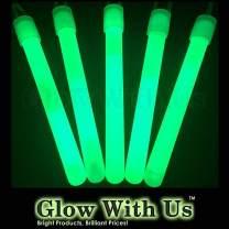 "Glow Sticks Bulk Wholesale, 50 4"" Green Glow Stick Light Sticks. Bright Color, Kids Love Them! Glow 8-12 Hrs, 2-Year Shelf Life, Sturdy Packaging, GlowWithUs Brand…"