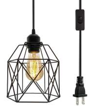 Industrial Plug in Pendant Light, Black Cage Pendant Light Fixture with On/Off Switch, E26 Socket Vintage Hanging Light, Max 660W Farmhouse Pendant Lighting for Kitchen Living Room Dining Room
