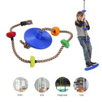 AIPINQI Kids Climbing Rope, 2m / 6.5ft Tree Climbing Rope with Foot Holder Platform and Disc Swing Seat Set Rope Ladder for Kids Outdoor Tree Backyard Playground Swing Support 440lbs/200kg