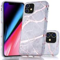 iPhone 11 Case, BAISRKE Shiny Rose Gold Marble Design Bumper Matte TPU Soft Rubber Silicone Cover Phone Case for iPhone 11 6.1 inch 2019 - Gray Marble