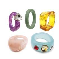 ZZ ZINFANDEL 5Pcs Resin Acrylic Rhinestone Rings, Lovely Colorful Acrylic Rhinestone Band Ring for Women Girls,Fashion Mold Silicone Ring Wedding Band