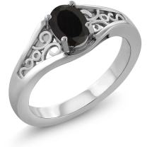 Gem Stone King 925 Sterling Silver Black Onyx Women's Solitaire Ring 0.68 Cttw Oval 7X5MM (Available 5,6,7,8,9)