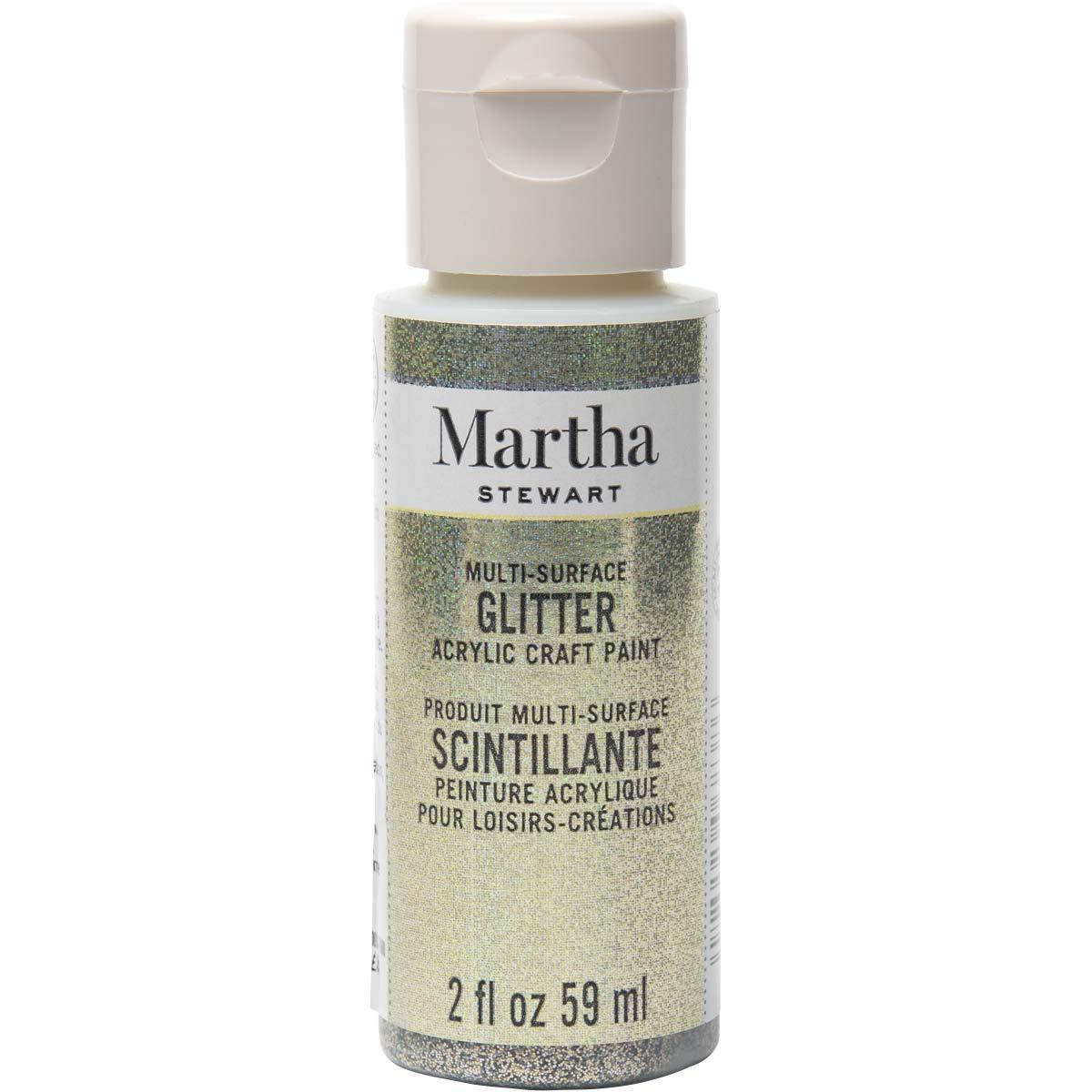 Martha Stewart Crafts Multi-Surface Glitter Craft Antique Silver, 2 oz Paint