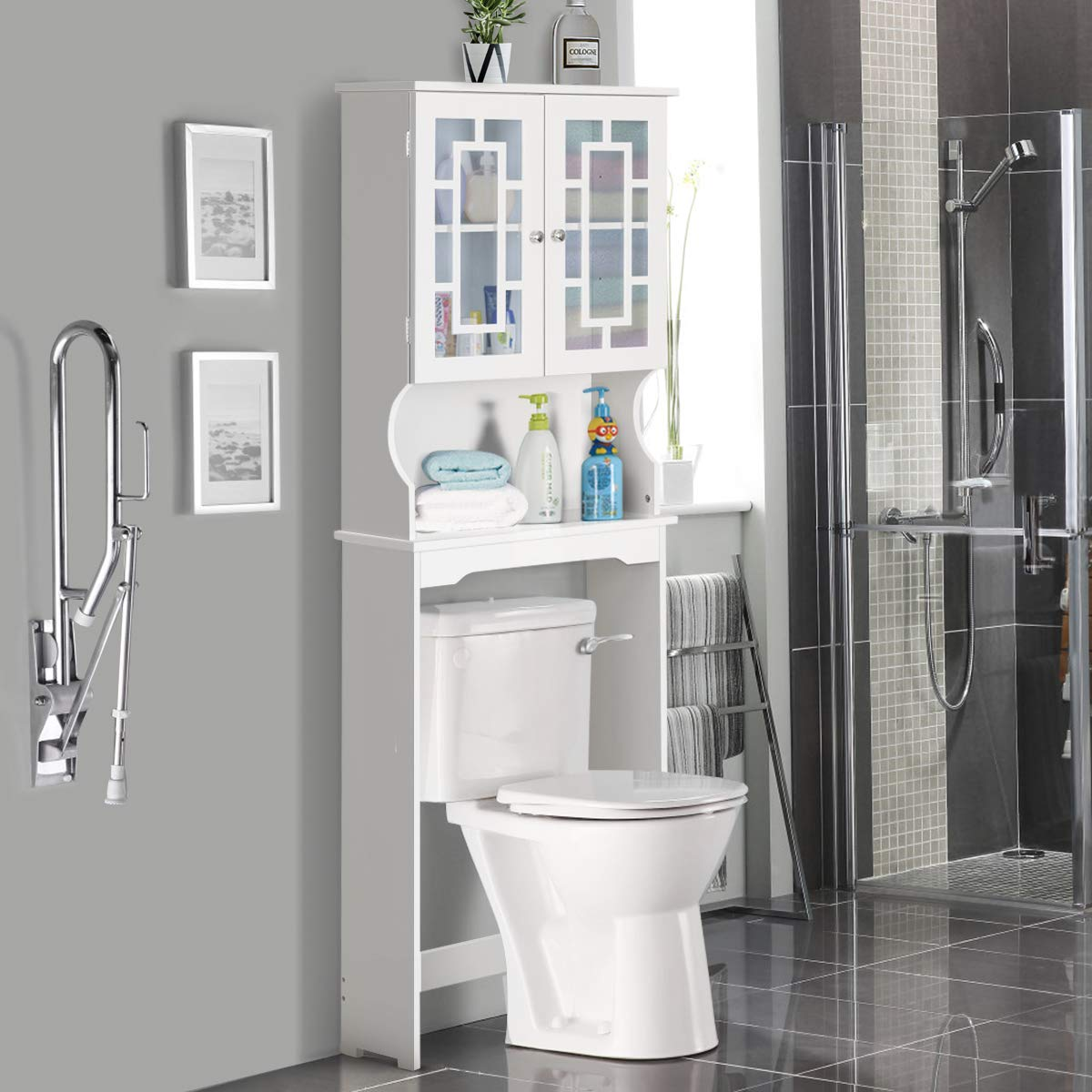 Giantex Over-The-Toilet Bathroom Storage Space Saver W/Shelf and 2-Door Collect Cabinet (White)