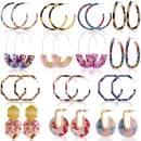 Outee 14 Pairs Acrylic Earrings Hoop Earrings Resin Drop Dangle Earrings Polygonal Bohemian Fashion Jewelry Earrings for Women Dress Accessory