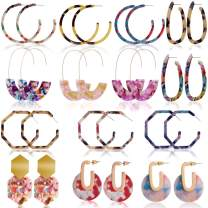 Outee 14 Pairs Acrylic Earrings Hoop Earrings Resin Drop Dangle Earrings Polygonal Bohemian Fashion Jewelry Earrings for Women Dress Accessory