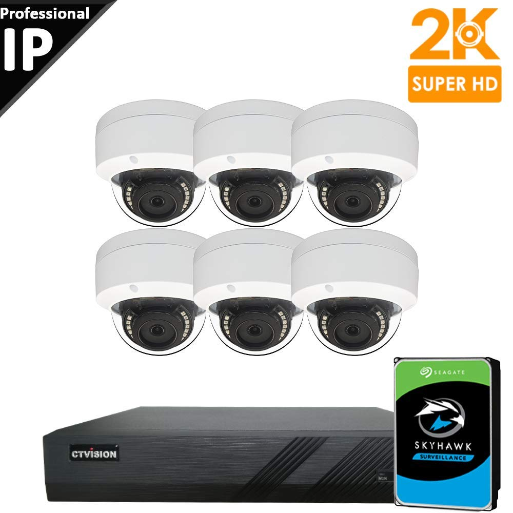 CTVISION UltraHD 5MP (2.5X1080P) Home Business Security Camera Systems,8-Channel PoE Video Security System(2TB HDD),6pc 5MP Outdoor Weatherproof Nightvision 90° Viewing Angle Turret Dome PoE IP Camera