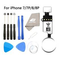 Latest Home Button Replacement for iPhone 7 7Plus 8 8Plus,GVKVGIH Home Button Touch ID Main Key Flex Cable Assembly Replacement with Repair Tools for iPhone 7 7P 8 8P (Version4.0 White)