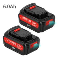 2Packs 6.0Ah Replacement for Dewalt 20V Battery MAX XR with LED Indicators DCB205 Battery Lithium DCB207 DCB201 DCB203 DCB205-2 DCB230-2 Power Tool Battery