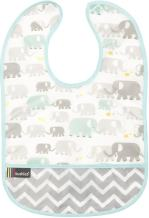 Kushies Cleanbib Waterproof Feeding Bib with Catch All/Crumb Catcher Pocket. Wipe Clean and Reuse! Lightweight for Comfort, Baby Boys and Girls, Unisex, 6-12 Months, White Elephants