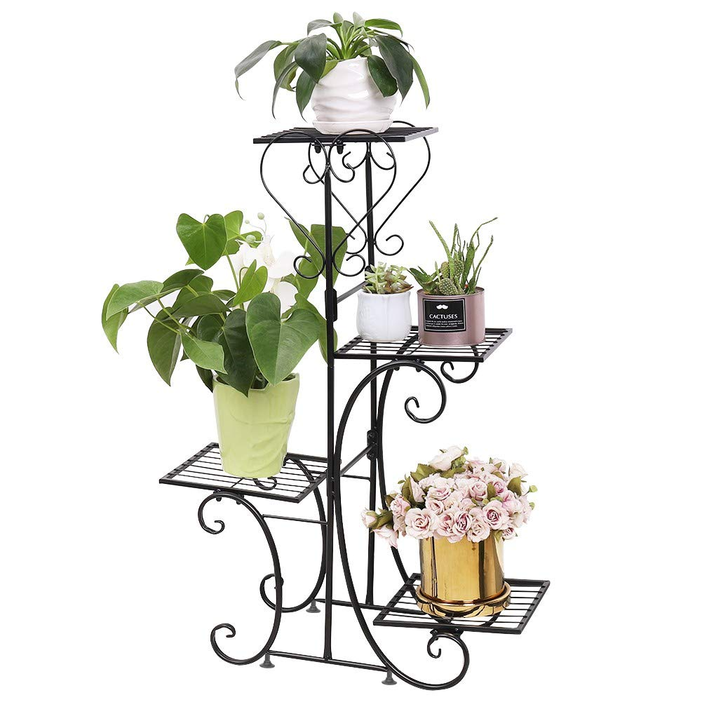 unho Metal Plant Stand Flower Pot Shelf Indoor 4 Tier Classic Patio Stand Holder Outdoor Displaying Multiple Plants Flowers, Black