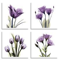 HLJ ART 4 Panel Elegant Tulip Purple Flower Canvas Print Wall Art Painting for Living Room Decor and Modern Home Decorations Photo Prints 12x12inch (Purple S)
