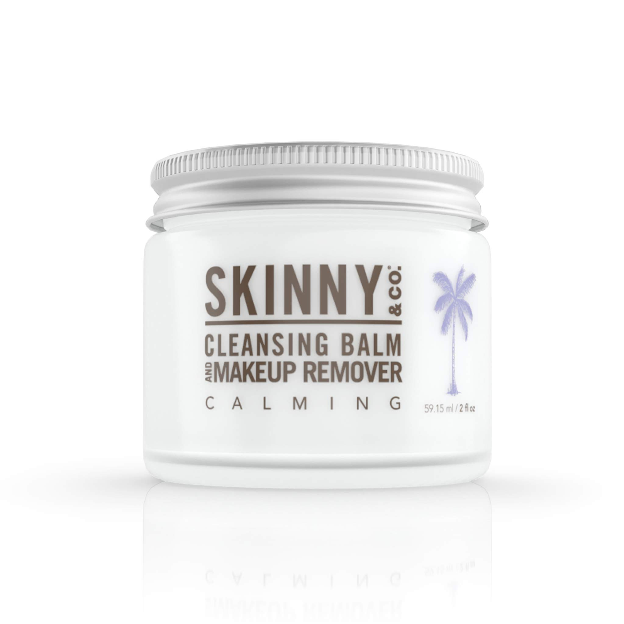 SKINNY & CO. Calming Cleansing Balm & Makeup Remover- 3-in-1 Formula, Makeup Remover, Cleanser & Moisturizer | Brightens & Soothes Skin, Reduces Redness, 100% Raw Coconut Oil, Paraben Free, 2oz.