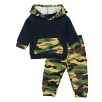 Toddler Infant Baby Boy Clothes Camouflage Hooded Long Sleeved Outfits Sets