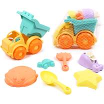 Caramella Bubble Beach Toys Set with Mesh Bag Includes Dump Truck, Water Wheel, Shovel, Rake and Molds,Soft Safety Plastic Eco-Friendly Sand Toys for Kids Toddlers Outdoor Play