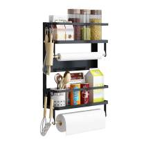 Apsan Magnetic Spice Rack for Refrigerator, 3 Tier Magnetic Rack for Spice Organizer with Paper Towel Holder, Large - Black