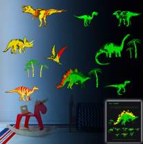 Glow in The Dark Dinosaur Wall Stickers for Boys Room 9 Piece Large Removable Dino Decals Decor for Bedroom Living Room Classroom Wall Colorful Mural Cool Gift for Kids Baby Nursery Teens