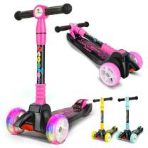 curious kid Kick Scooter Adjustable Height for Kids,Lean to Steer with PU Light-Up Wheels, 3 Wheel Kick Scooters for Toddlers Girls & Boys from 3 to 12 Years Old