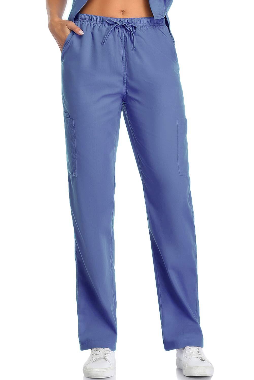CRETUAO Women Scrub Pants Cargo Stretch 7-Pockets Classic Fit(Blue M)