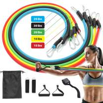 LESONG Resistance Bands Set, 5 Stackable Elastic Bands for Exercise,Portable Gym Equipment for Home Includes Door Anchor, Workout Guide, Legs Ankle Straps, Foam Handles, and Storage Bag