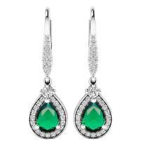 Dazzlingrock Collection 7X5 MM Each Pear Lab Created Gemstone & Real Diamond Teardrop Dangling Earrings, Sterling Silver