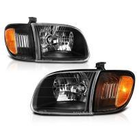 VIPMOTOZ Black Housing OE-Style Headlight & Corner Side Marker Lamp Assembly For 2000-2004 Toyta Tundra 2-Door Cab Model, Driver & Passenger Side