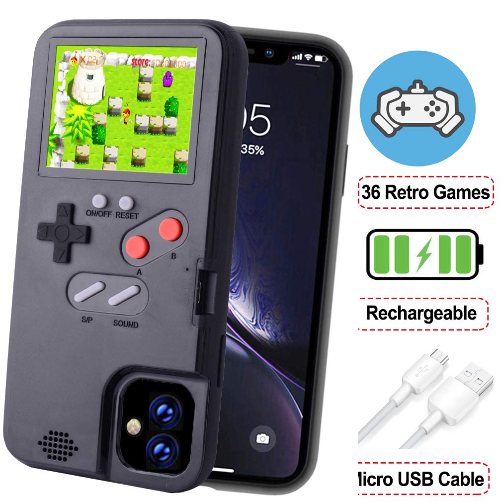 POKPOW Handheld Game Console Phone Case for iPhone 11 Pro Max Case with Built in 36 Retro Games Compatible with iPhone 11 Pro Max Anti-Scratch Shock Absorption Cover (Black)