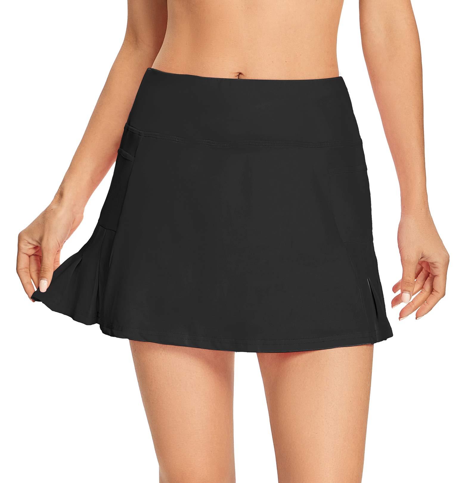 Raroauf Women's Athletic Skorts Lightweight Active Skirts with Shorts Running Tennis Golf Workout Mini Skirt with Pockets