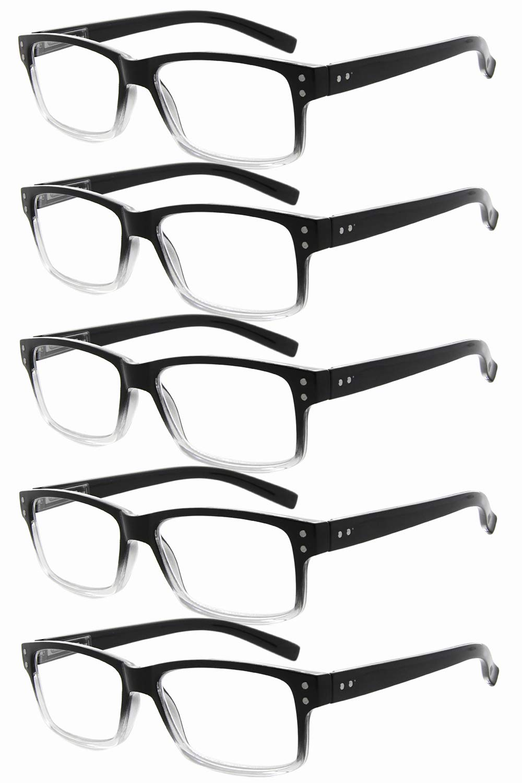Eyekepper Mens Vintage Reading Glasses-5 Pack,Black-Clear Frame +2.50