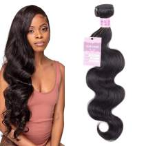 Valentines Day Gifts Aigemei Peruvian Virgin Hair Body Wave Natural Color 1 Bundle 100% Unprocessed Body Wavy Human Hair Extensions(10 Inch,Natural Black)