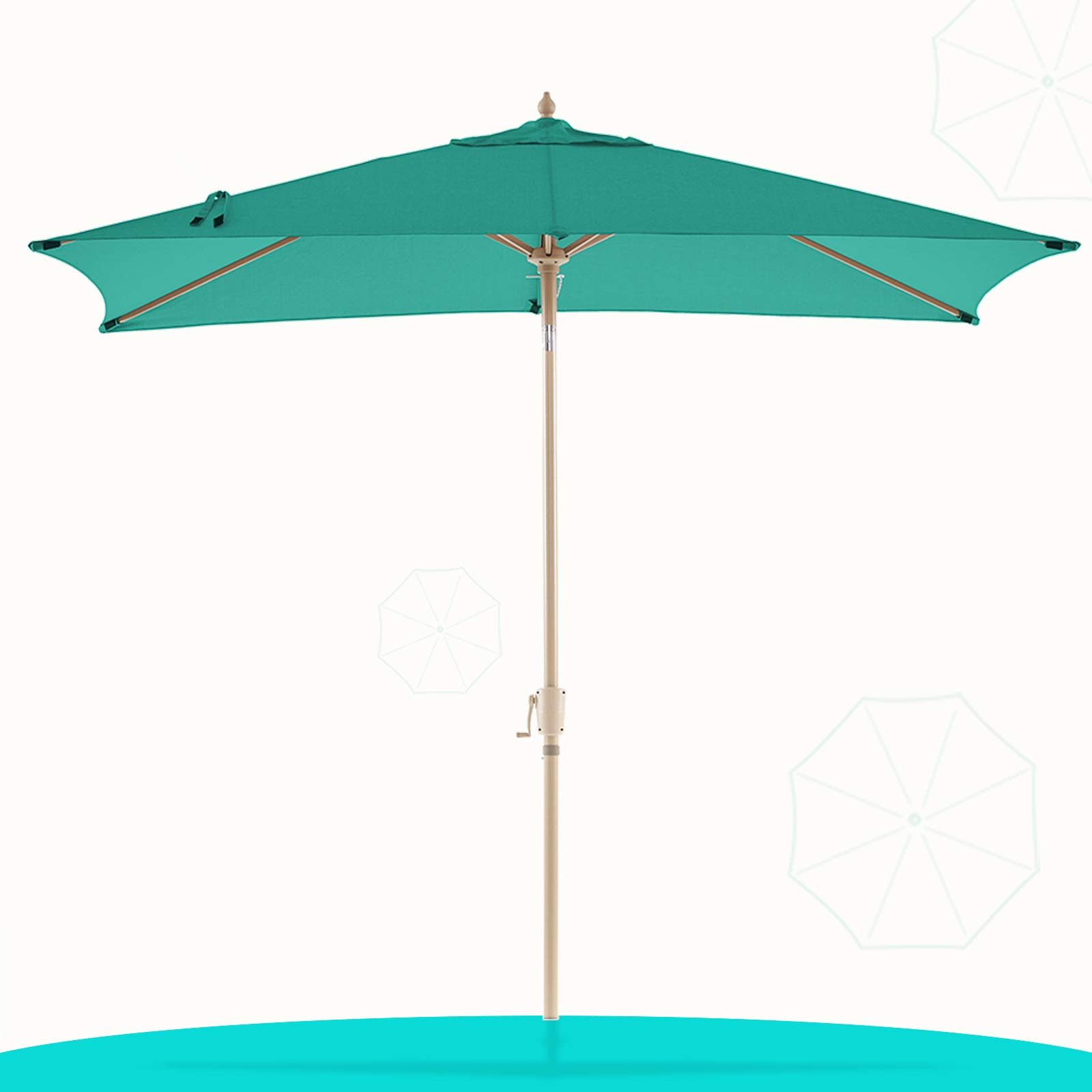 LE CONTE Olefin Rectangular Patio Umbrella Outdoor Market Umbrellas Table Umbrellas | 3 Years Non-Fading Fabric & Push Button Tilt | Best for Deck, Garden, Lawn & Pool (6.69.8 ft, Arcadia Green)