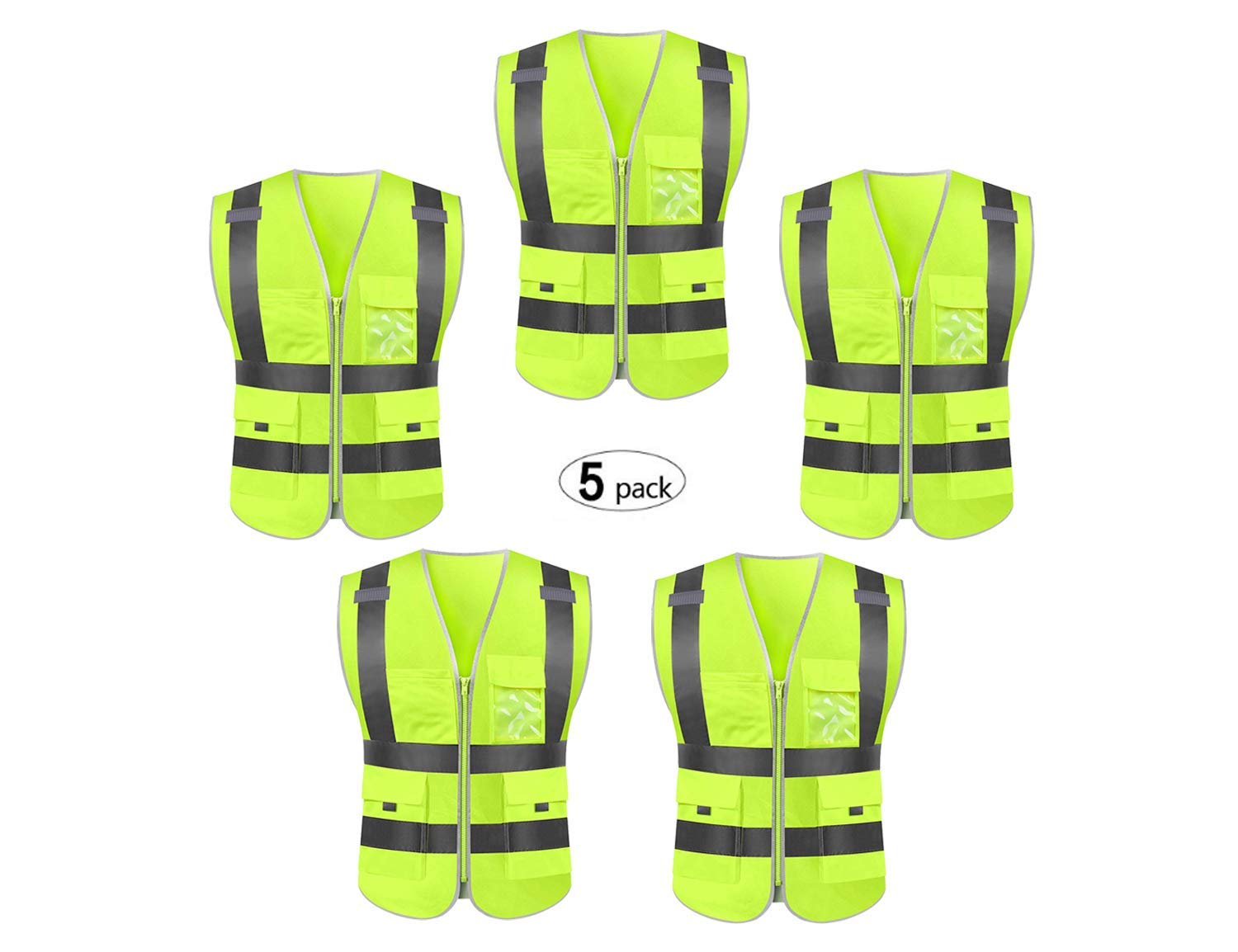 Reflective safety vest high visibility reflective tape with pockets and front zipper class 2 (2X-Large, 5 Pack)