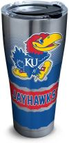 Tervis 1269595 Kansas Jayhawks Knockout Stainless Steel Tumbler with Clear and Black Hammer Lid 30oz, Silver