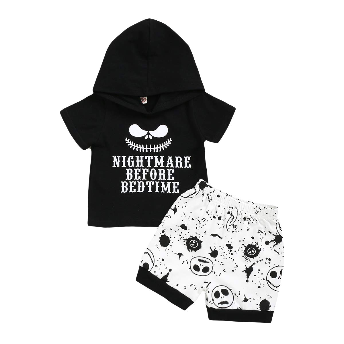 Toddler Baby Infant Boy Clothes Funny Nightmare Short Hoodie +Skull Short Pants Outfit Set
