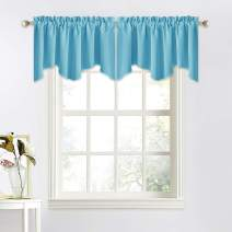 NICETOWN Window Valances for Small Window - 52 inches W by 18 inches L Rod Pocket Window Treatment Curtain Valance Tiers Set for Cafe Store/Baby Nursery/Living Room (Teal Blue, 2 Pieces)
