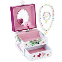 RR ROUND RICH DESIGN Kids Musical Jewelry Box for Girls with Drawer and Jewelry Set with Flamingo Theme - Beautiful Dream Tune White