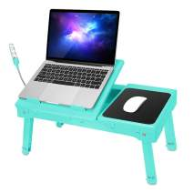Laptop Desk for Bed Laptop Tray Table Foldable Stand Desk with Cooling Fan, 4 Port USB Hub, Adjustable LED Light, Mouse Pad and Storage Box for Working, Reading on Bed Couch Sofa (Aqua)