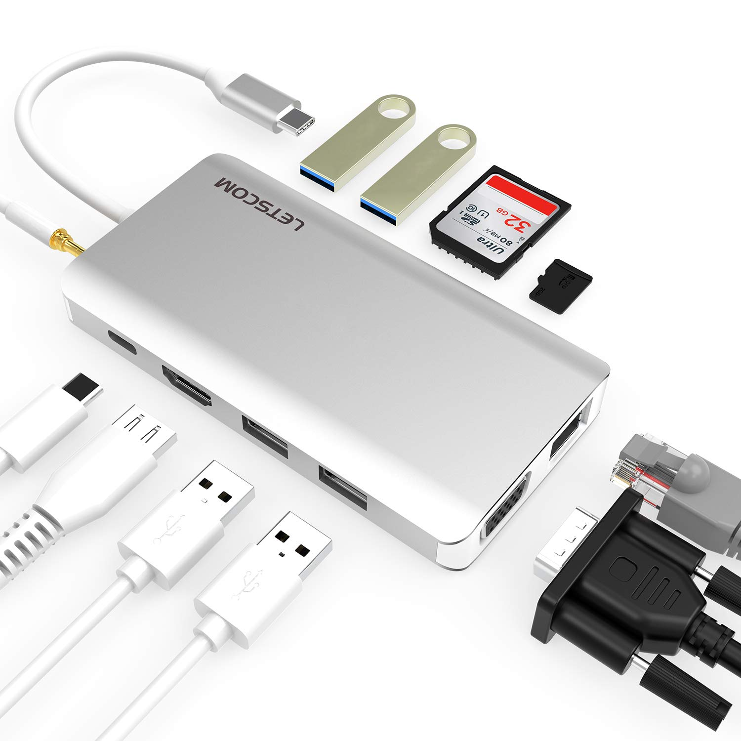 LETSCOM USB C Hub, 11 in 1 USB C Adapter with Ethernet, 4K HDMI, VGA, Power Delivery, 2 USB3.0 &USB2.0, Micro SD/TF Card Reader, Mic/Audio, Portable for The Mac Pro and Other Type C Laptops