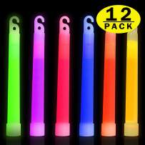 Max Fun 6 Inches 12PCS Glow Sticks Bulk Glow in The Dark Light Stick Necklace Party Supplies