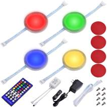 Lvyinyin RGBWW Under Cabinet LED Lighting Kit, Linkable Puck Light, RGB & Warm White, Wireless Remote Control Dimmer, 120V to 12V Wall Plug, 4 Lights