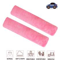 Fochutech 2Pcs Car Soft Plush Seat Belt Shoulder Pad Strap Cover Adjuster Protector Comfortable Driving (Pink)