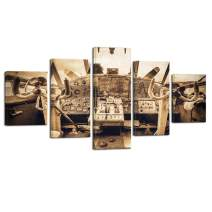LevvArts 5 Piece Large Canvas Wall Art Airplane Interior Cockpit View Painting Gallery Wrapped Vintage Aircraft Art Poster Wall Paintings for Living Room Contemporary Artwork Ready to Hang