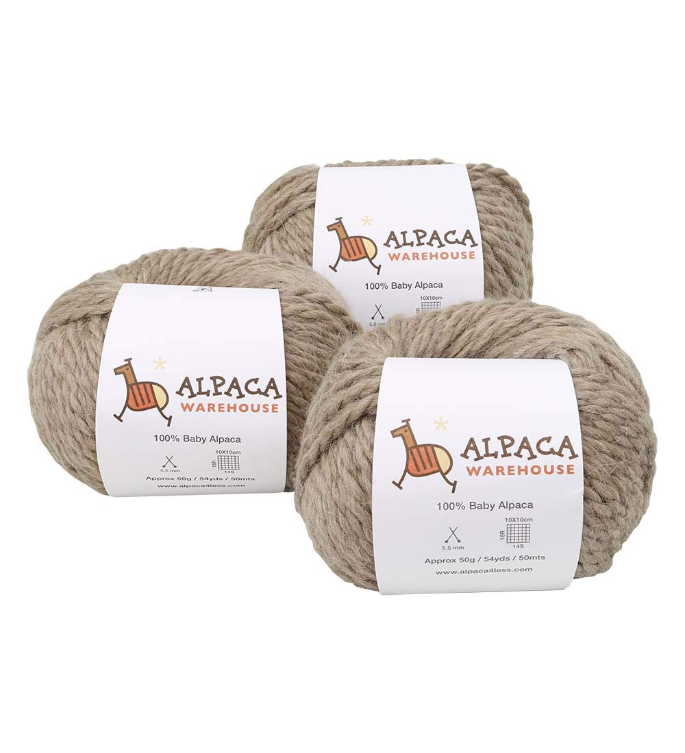 100% Baby Alpaca Yarn Wool Set of 3 Skeins Lace Worsted Bulky/Chunky Weight - Heavenly Soft and Perfect for Knitting and Crocheting (Beige, Bulky/Chunky Weight)