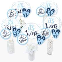It's Twin Boys - Blue Twins Baby Shower Centerpiece Sticks - Table Toppers - Set of 15