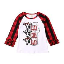Infant Kids Baby Girls Casual Christmas Long Sleeve Cow Printing Plaid T-Shirt Tops Clothes Blouse