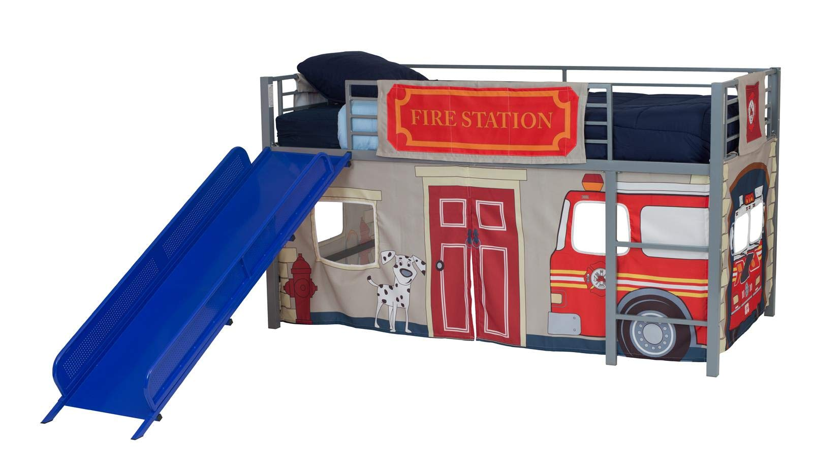 DHP Junior Silver Metal Loft Bed with Blue Slide and Fire Department Curtain Set, Kids Furniture, Twin Size